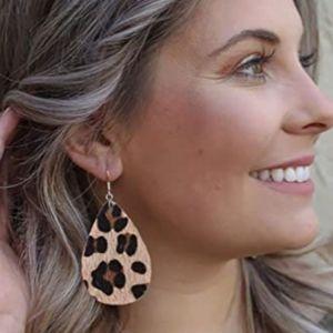 Leopard Print Teardrop Leaf Earrings
